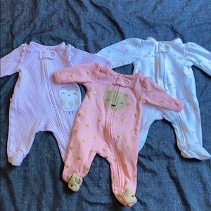 Premie Baby Girls Sleepers Lot